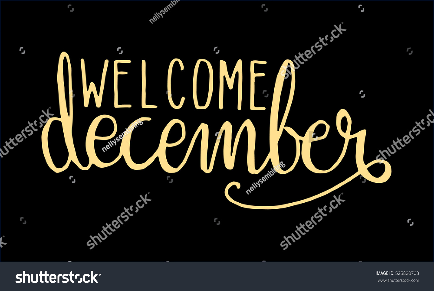 Welcome december hand lettered quote modern stock vector
