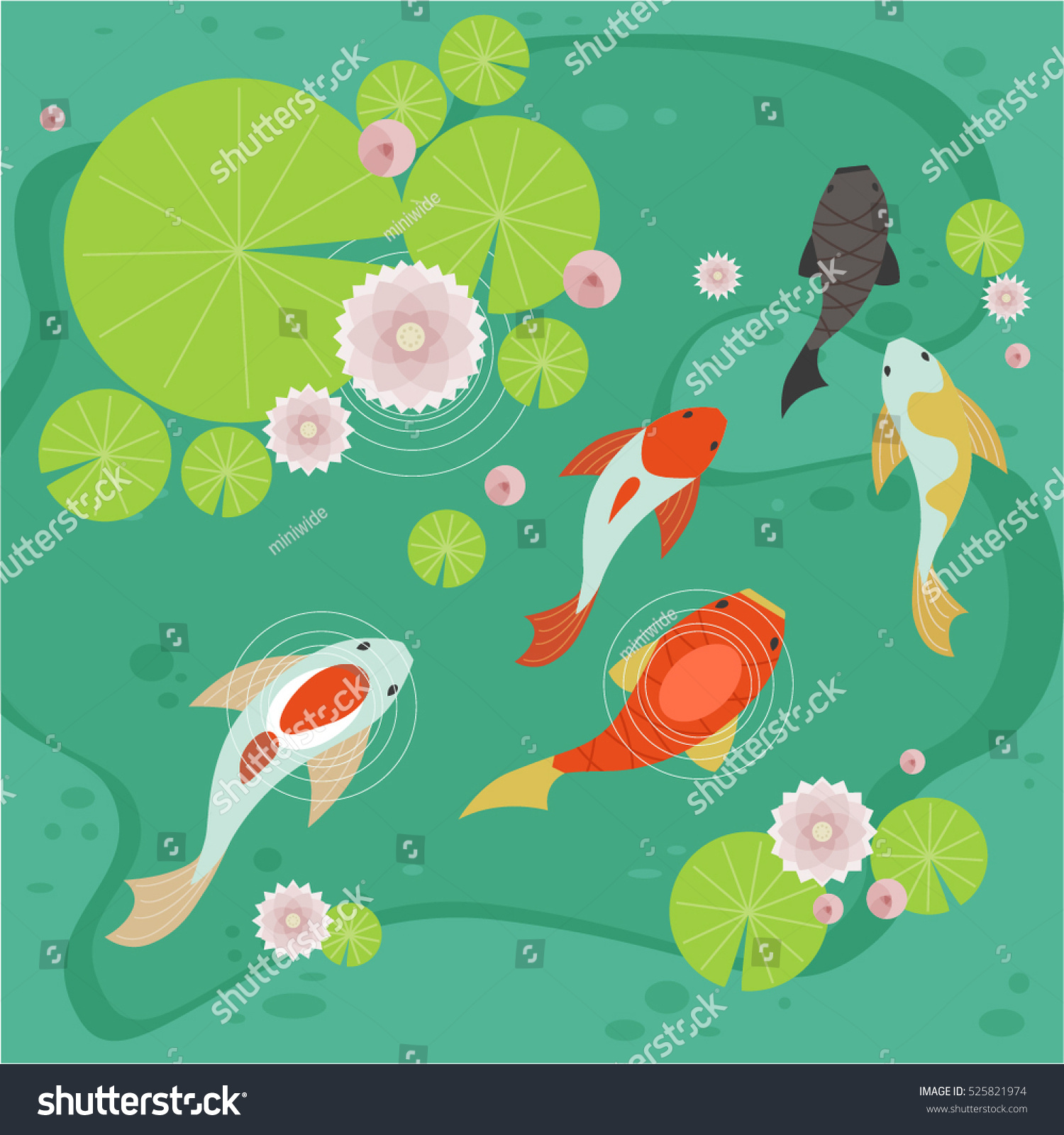 Carp pond vector illustration flat design 525821974 for Carp pond design