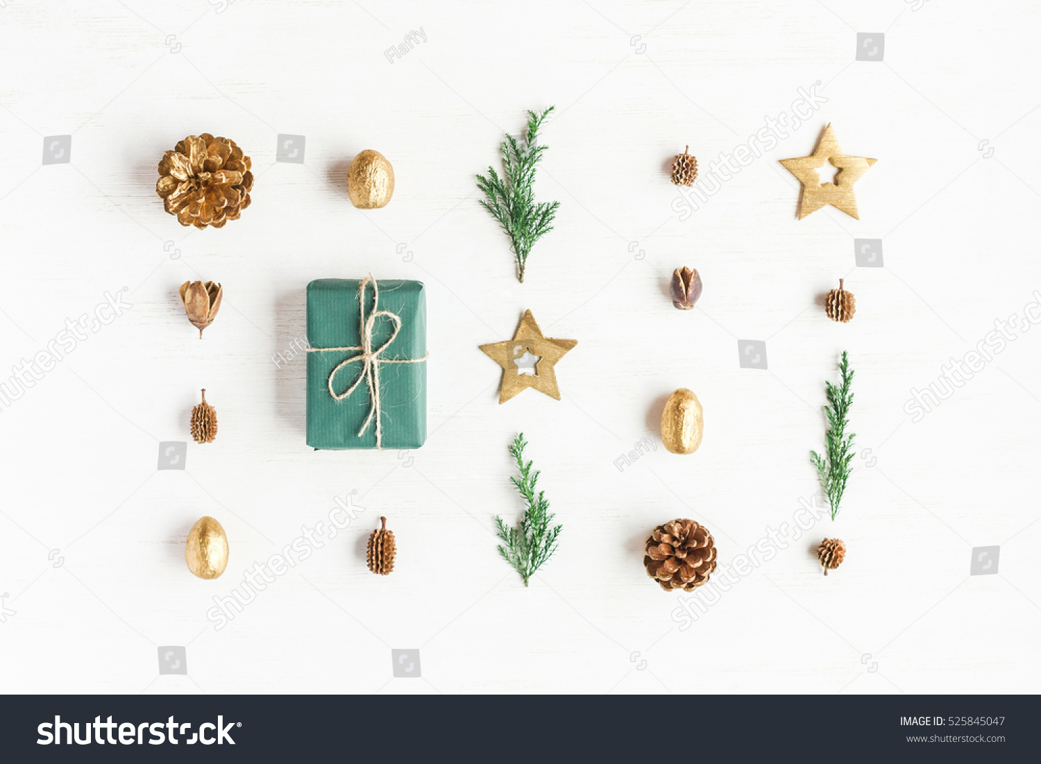 Pine Branches For Decoration Christmas Composition Gift Christmas Decoration Cypress Stock