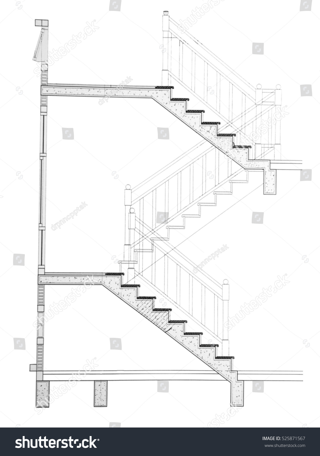 House Plan Section Cut Stair Stock Illustration 525871567 Shutterstock Staircase Diagram Classic Stairs And Remodeling Of