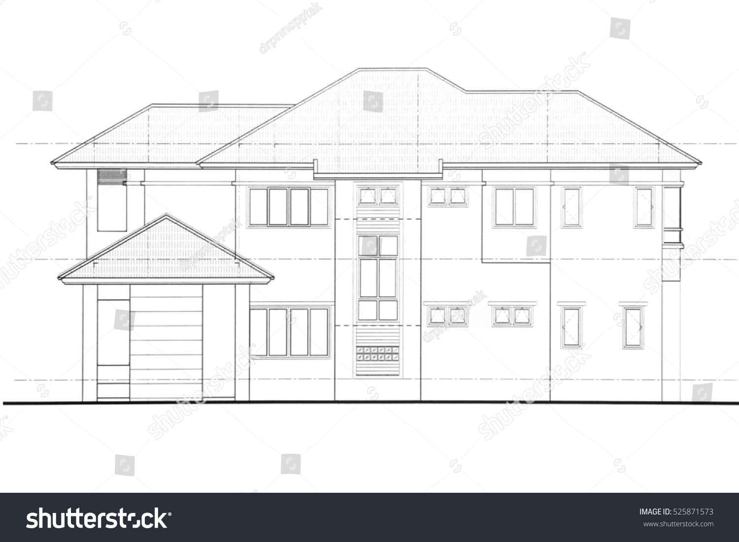 House plan side view stock illustration 525871573 for Side view house plans