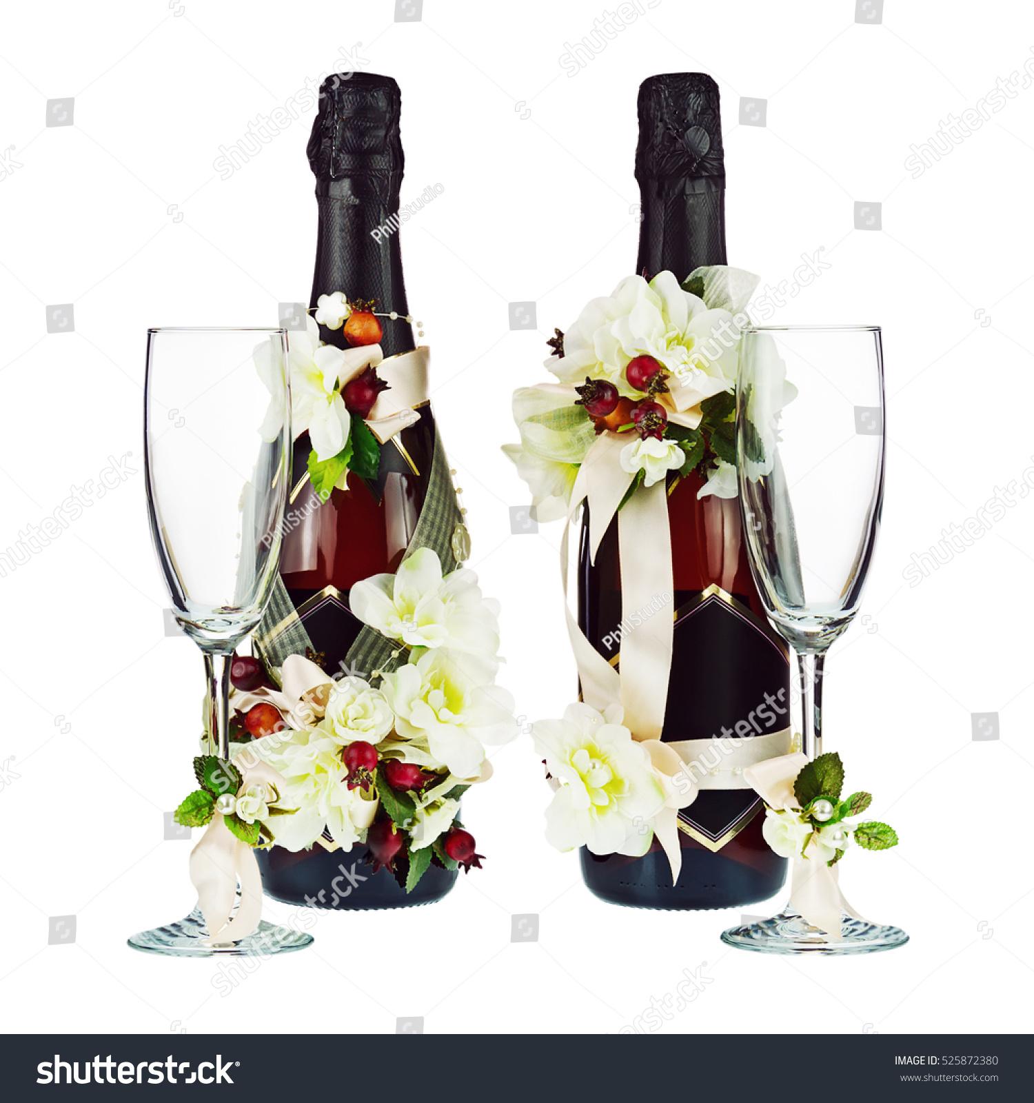 Champagne Bottles Glass Wedding Decoration Flower Stock Photo Edit
