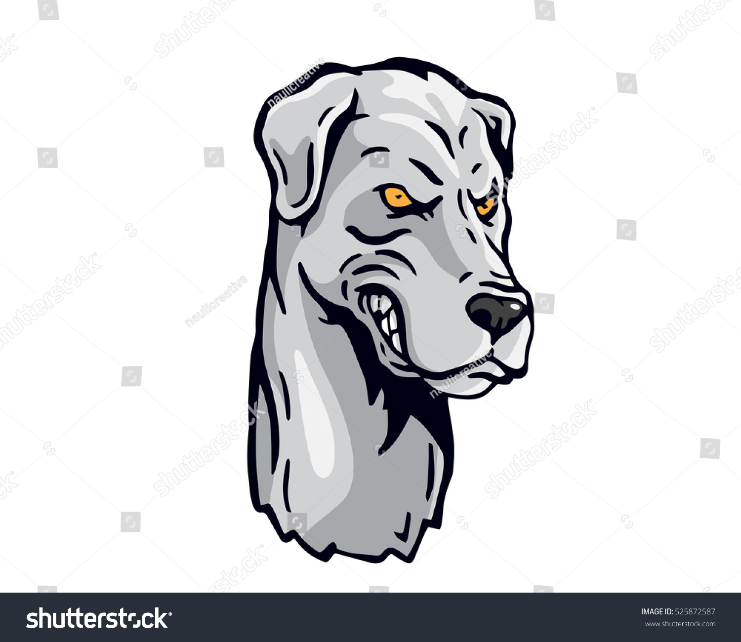 Angry Dog Breed Character Logo - White Great Dane Stock ...