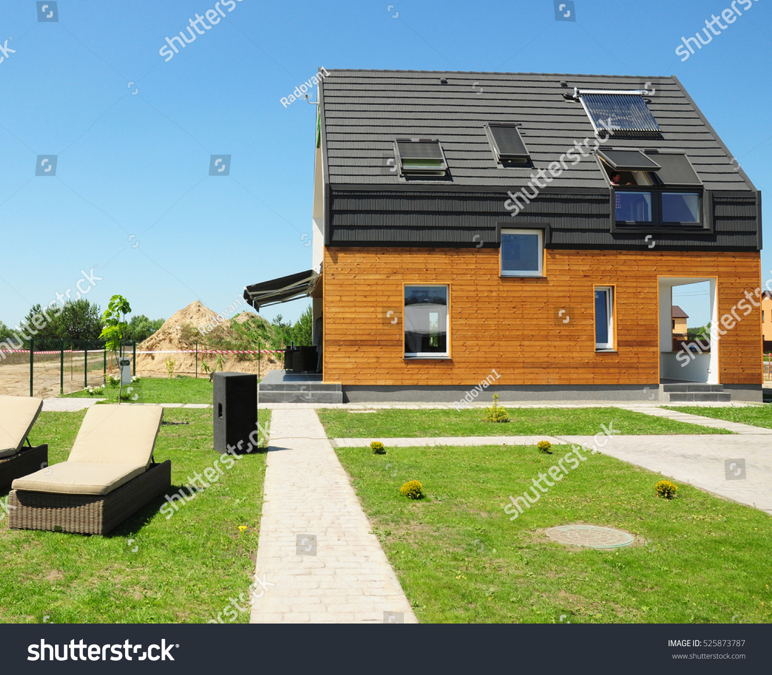 Modern House Construction Solar Water Heating Stock Photo