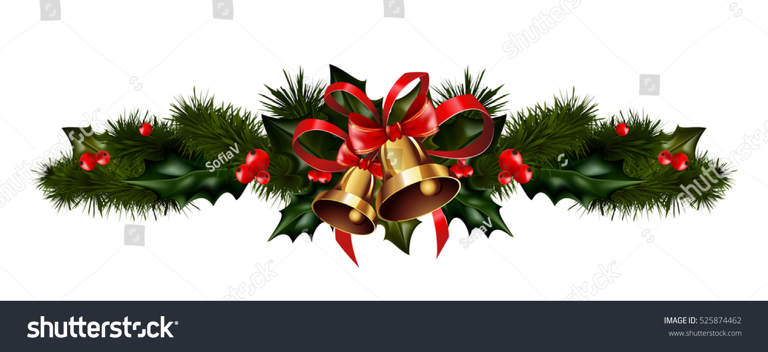 christmas decorations with fir tree golden jingle bells and decorative elements vector illustration - Christmas Bells Decorations