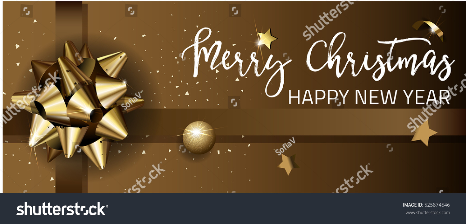 Merry Christmas Happy New Year Web Stock Vector Royalty Free