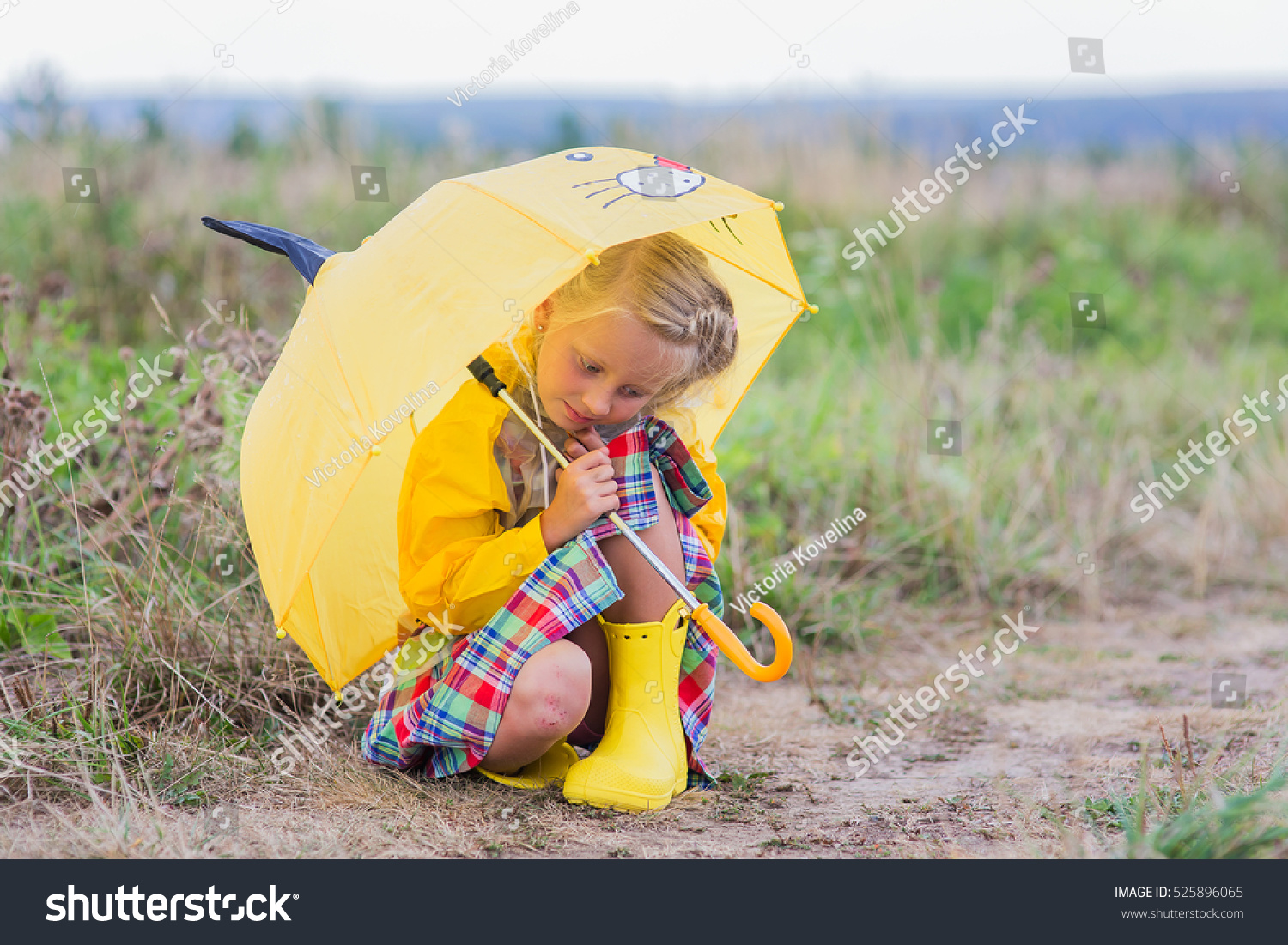 Sad Little Girl Hiding Rain Under Stock Photo 525896065 ...