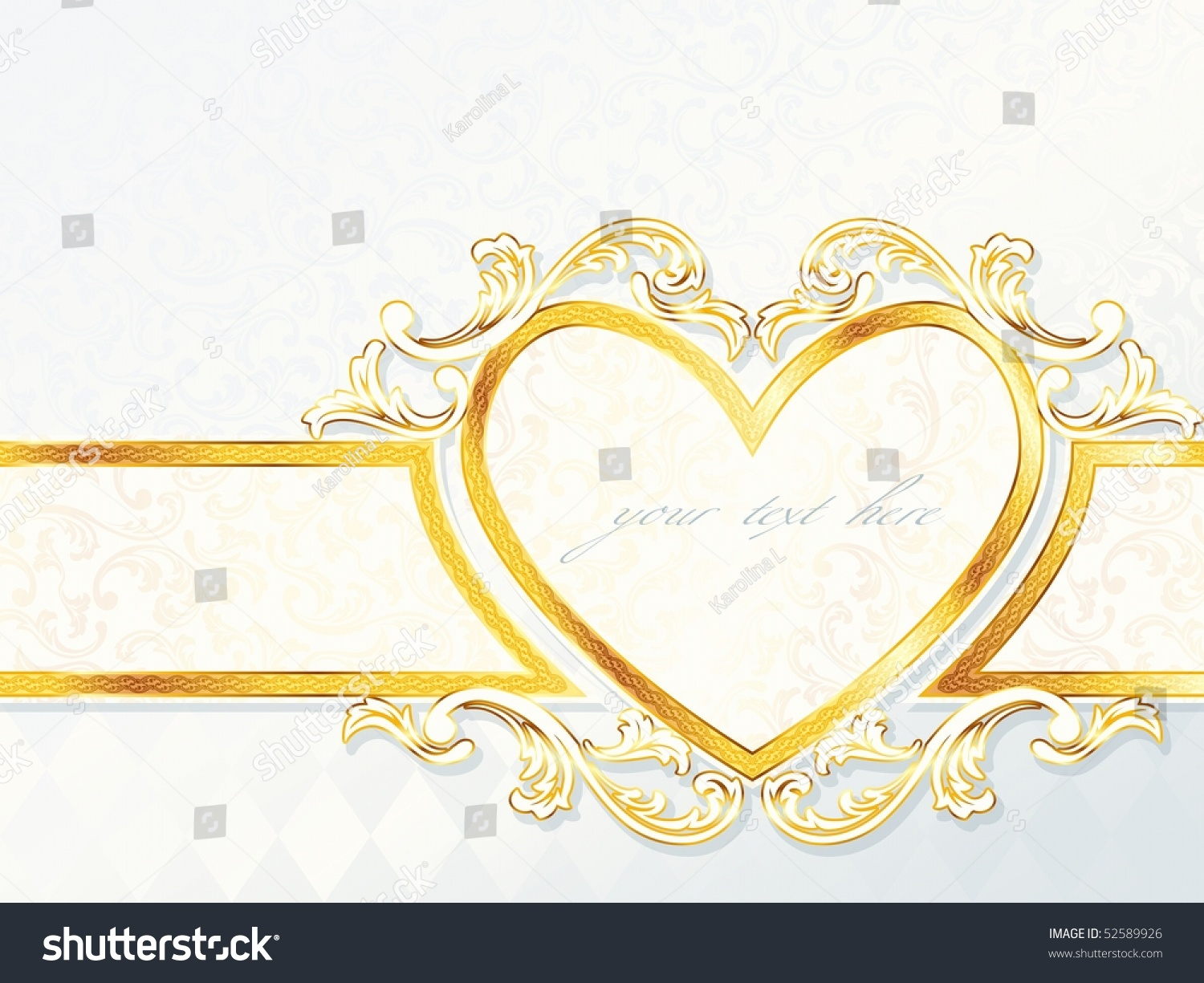 Horizontal Rococo Wedding Banner Heart Emblem Stock Vector ...