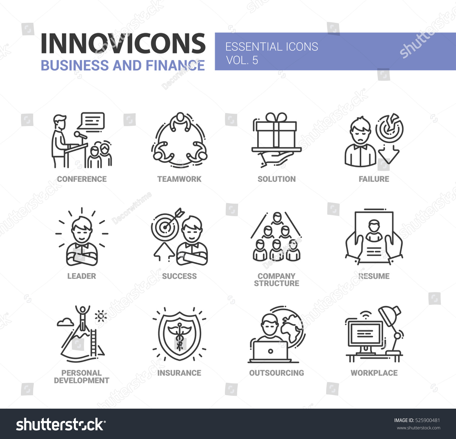 business finance modern vector thin line stock vector