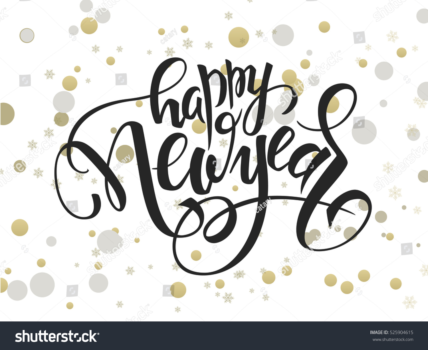 vector hand lettering new year greetings text with ellipses in gold ...