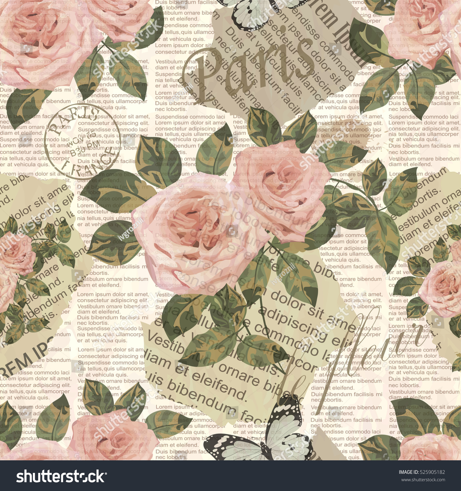 seamless paris travel wallpaper vintage newspaper background stock