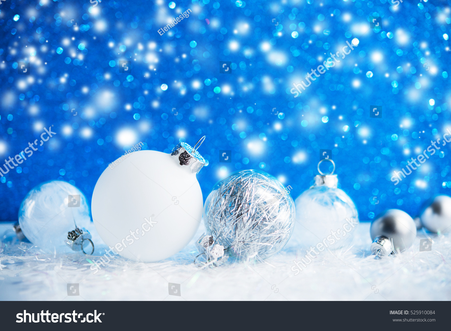 Silver White Christmas Ornaments On Blue Stock Photo Edit Now