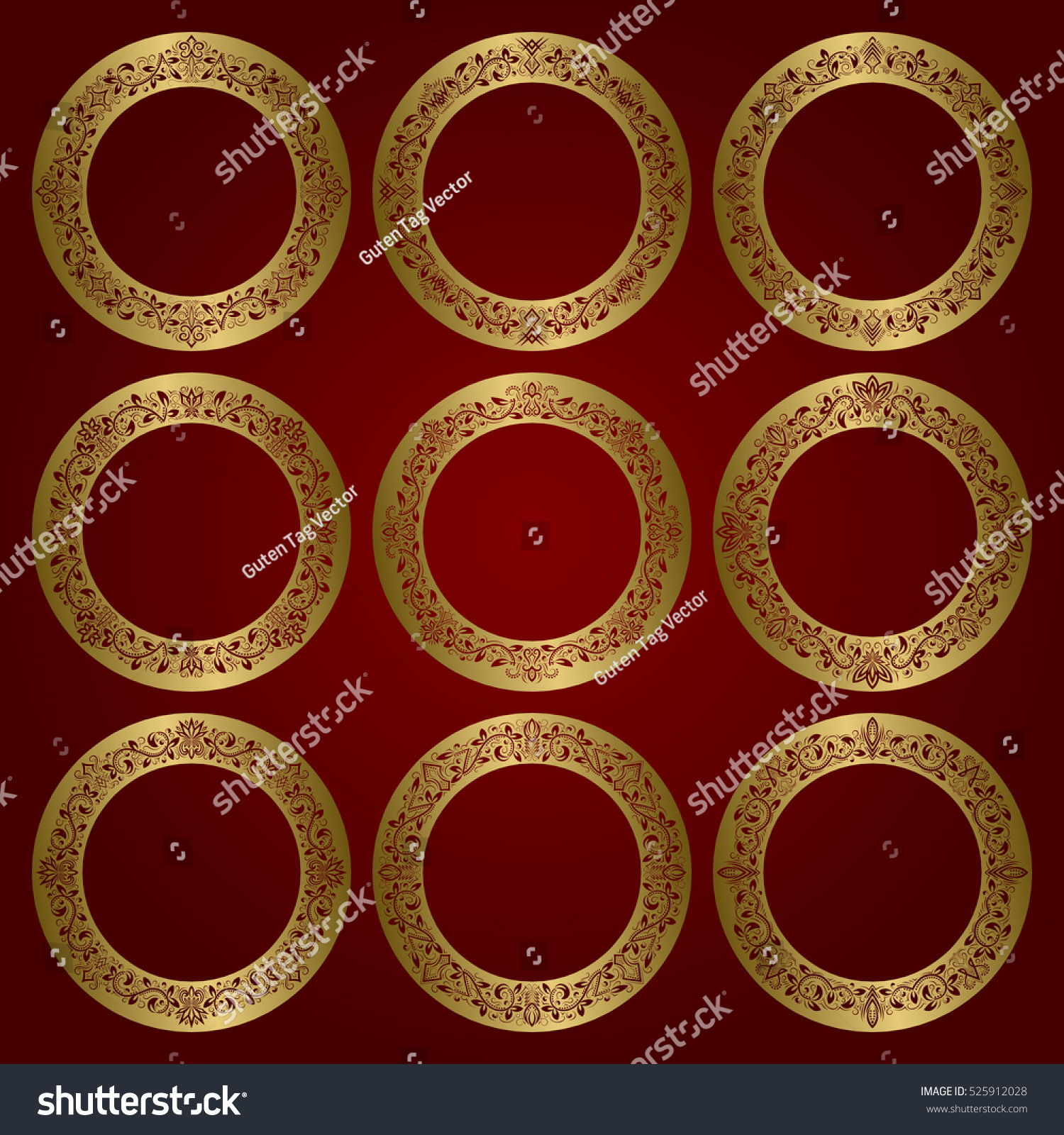 Golden round frames set floral ornament stock vector 525912028 golden round frames set of floral ornament borders sciox Choice Image