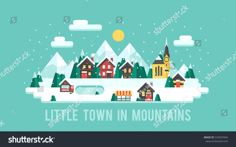 Snowy landscape ski resort vector illustration stock for Ski designhotel