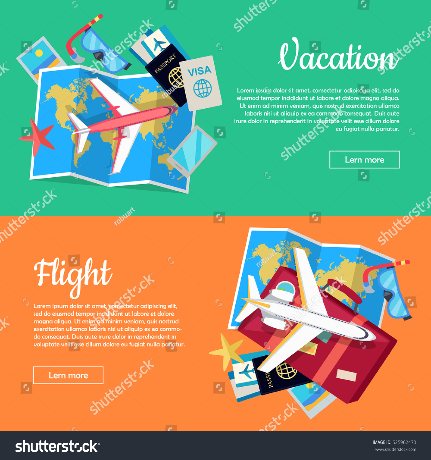 Vacation flight web banners aircraft luggage vectores en stock aircraft luggage world map air tickets gumiabroncs Gallery