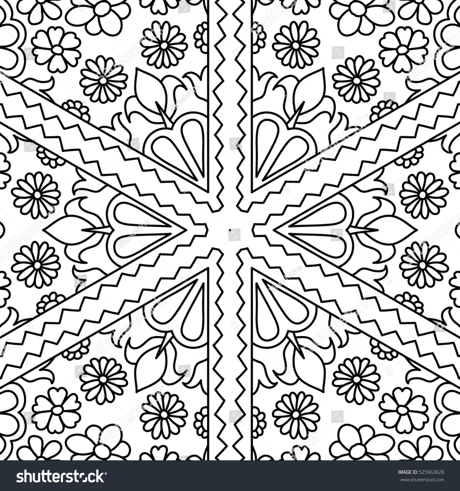adult coloring book page floral seamless black and white pattern for coloring wallpaper - Coloring Book Wallpaper