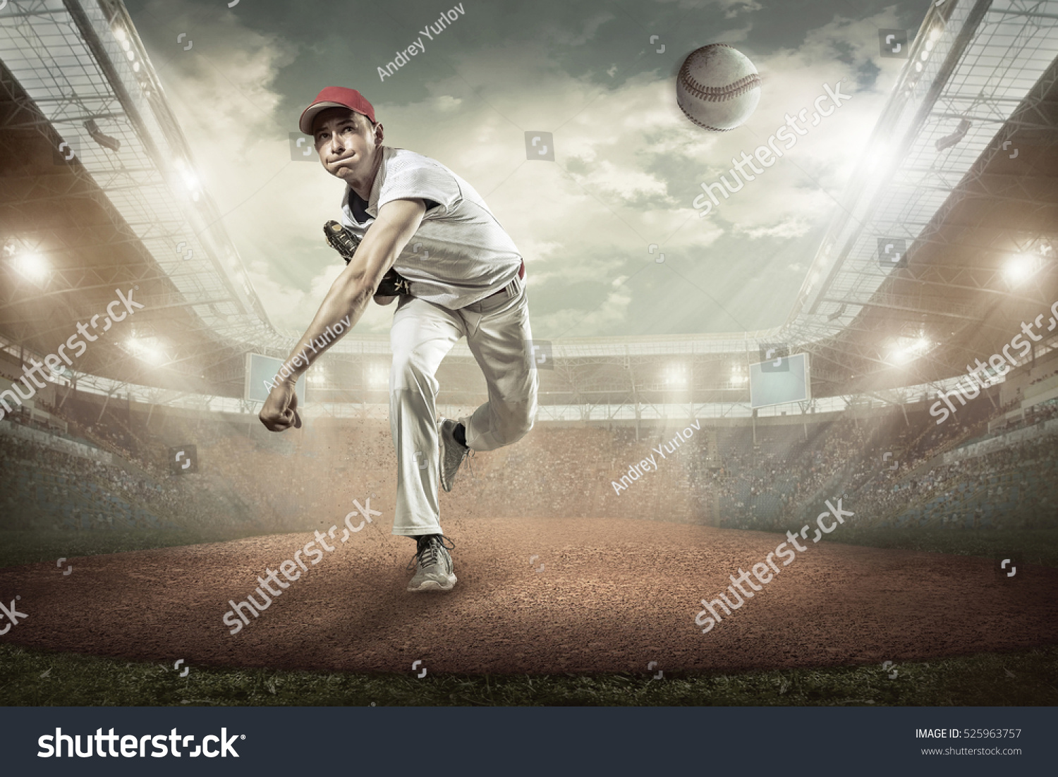 Baseball players in action on the stadium. #525963757