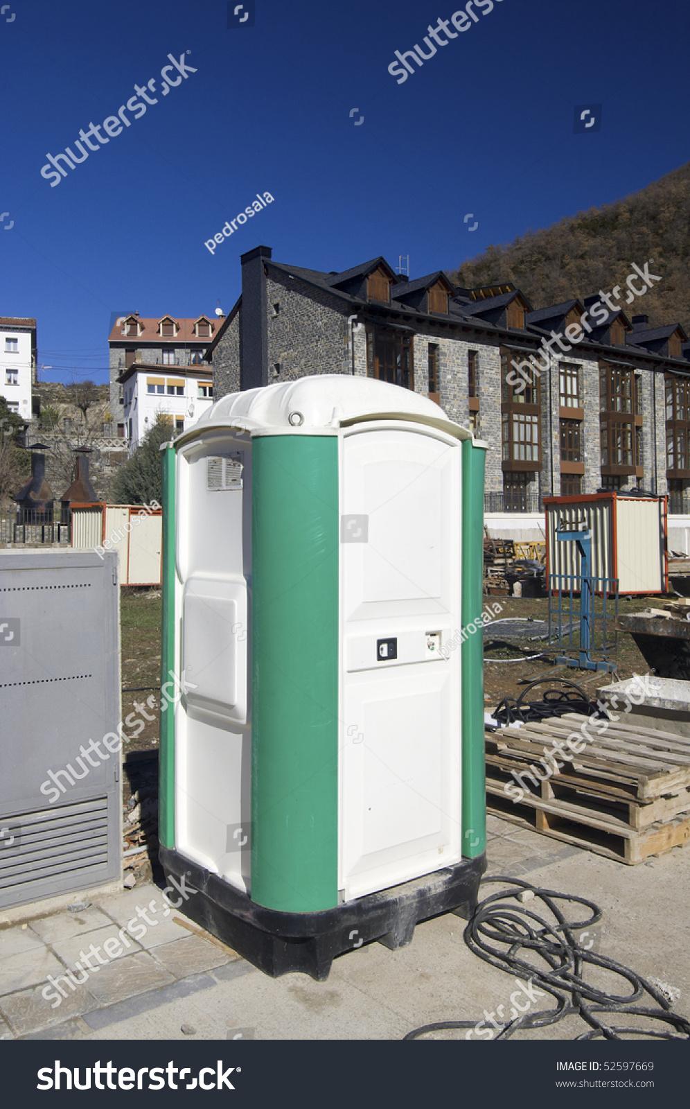 Construction Site Portable Toilets : Portable toilet at a construction site stock photo