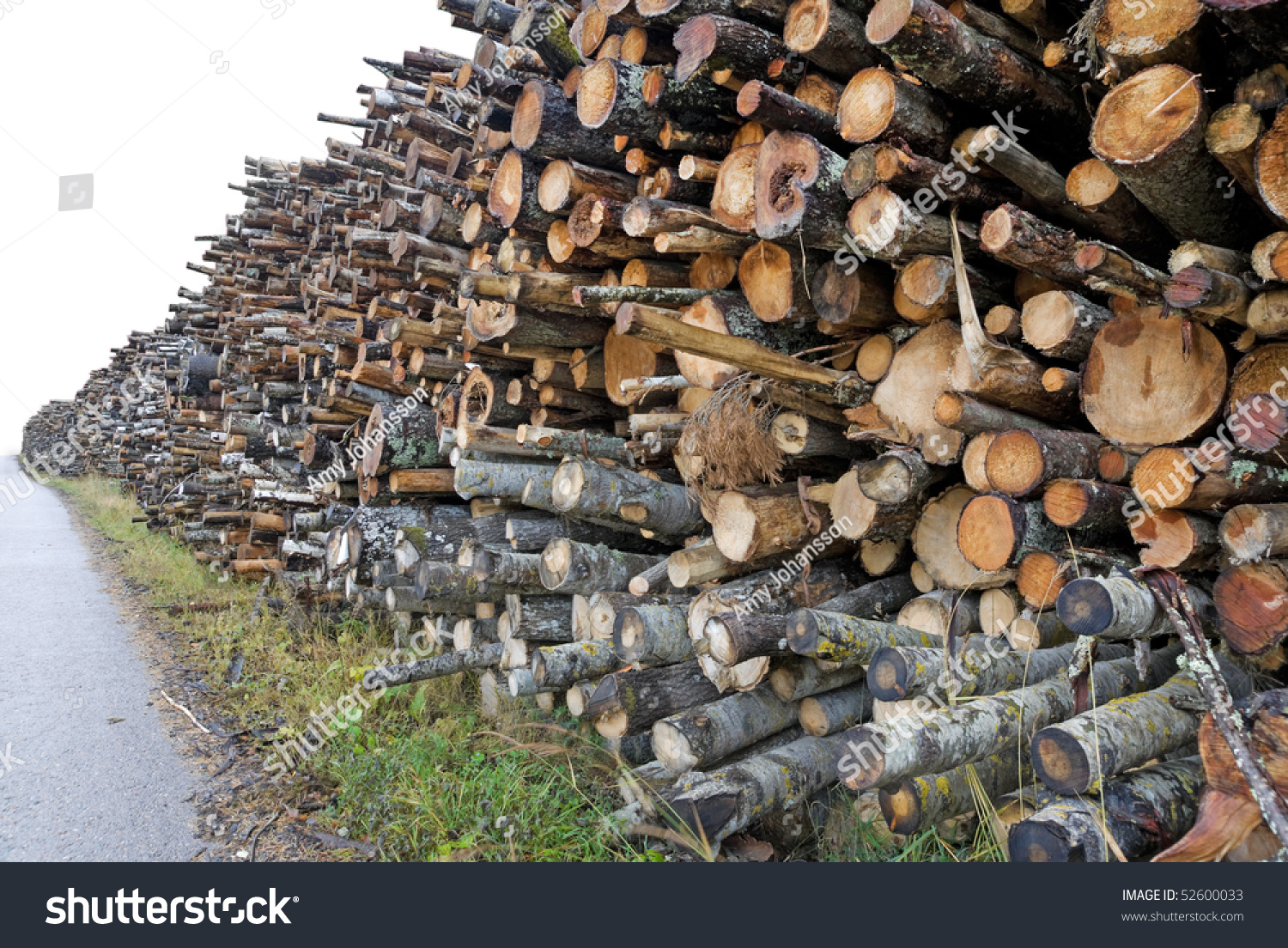 Stack of timber to be used for wood chips or pellets stock