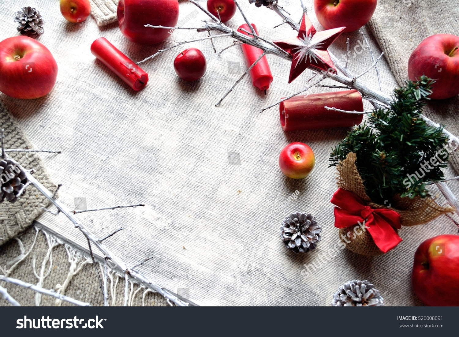Red Ribbon Christmas Tree,Apples And Candle Sticks.Gray