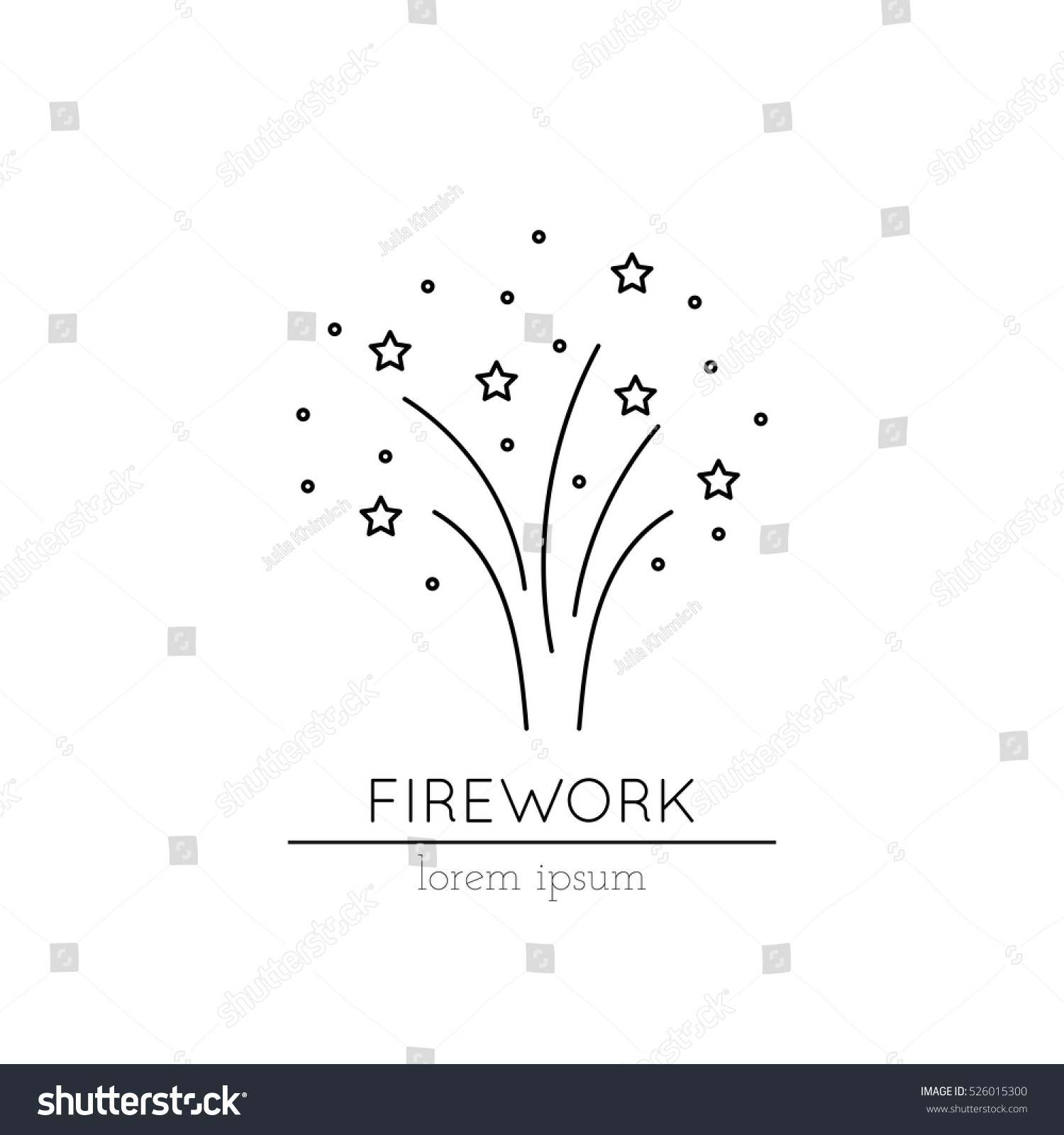 Vector Thin Line Icon Fireworks Metaphor Stock Vector Royalty Free
