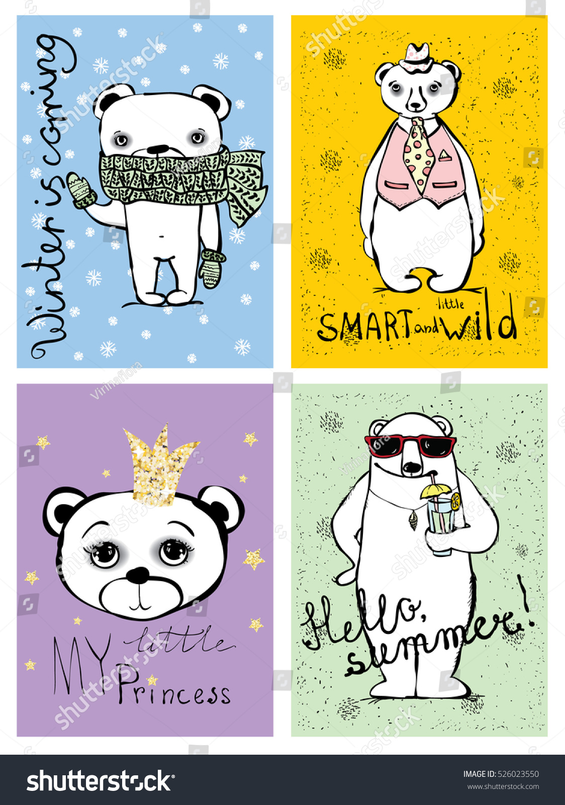 ready for print bear cards with hand drawn text - Pictures For Print