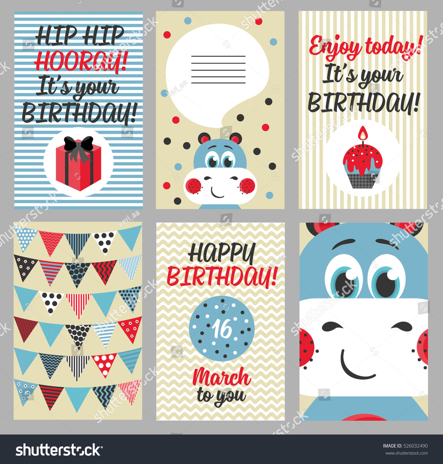 6 Birthday Card Templates: Set 6 Cute Creative Cards Templates Stock Vector 526032490