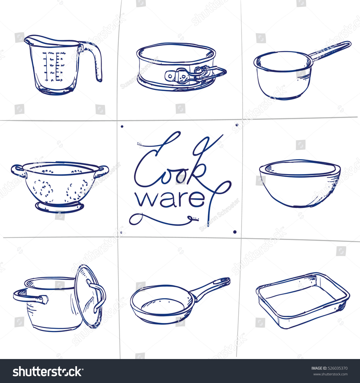 Doodle set kitchen cook ware measuring stock vector for Kitchen set drawing