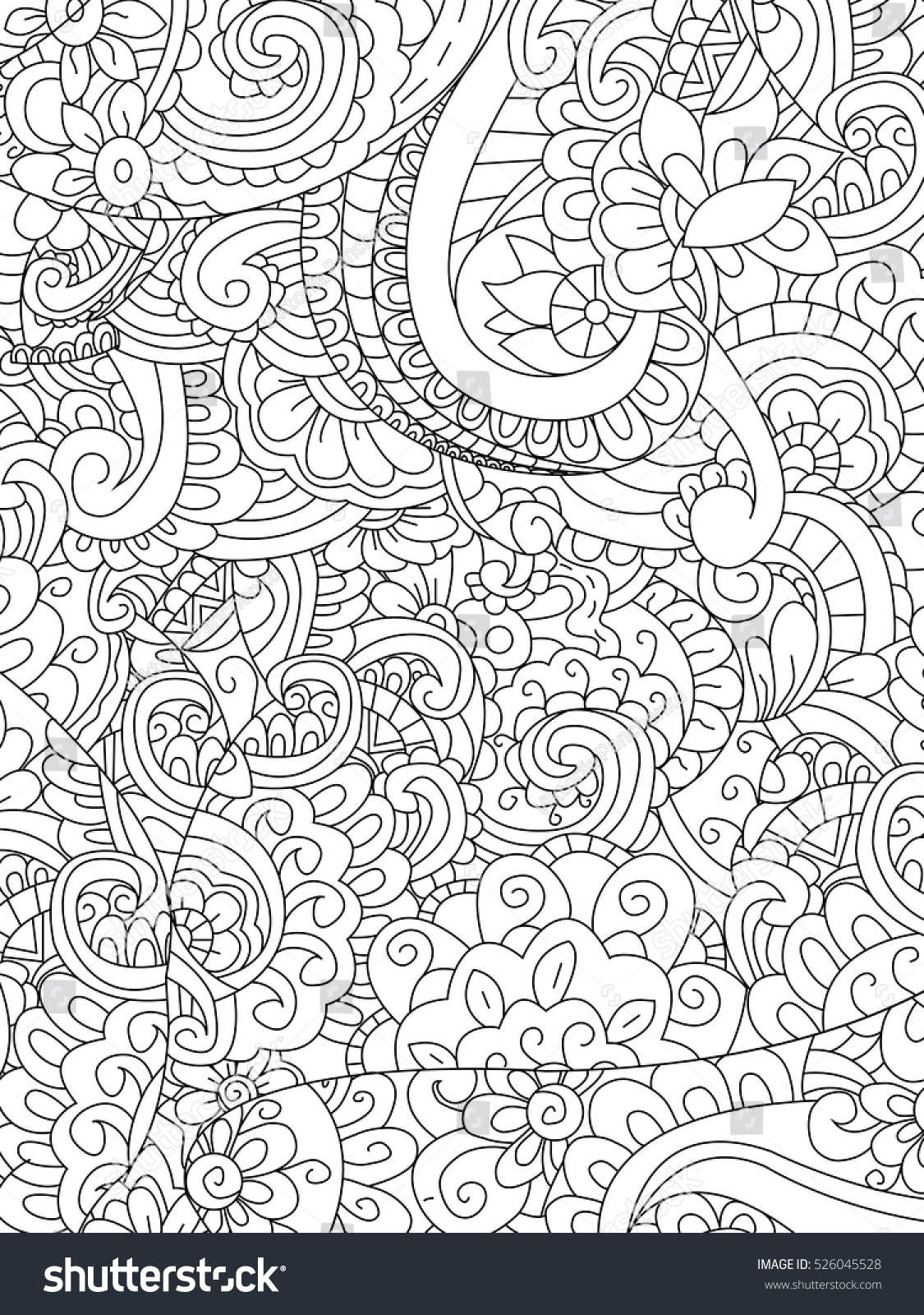 Coloring adults stress - Pattern Flower Coloring Book For Adults Vector Illustration Anti Stress Coloring For Adult