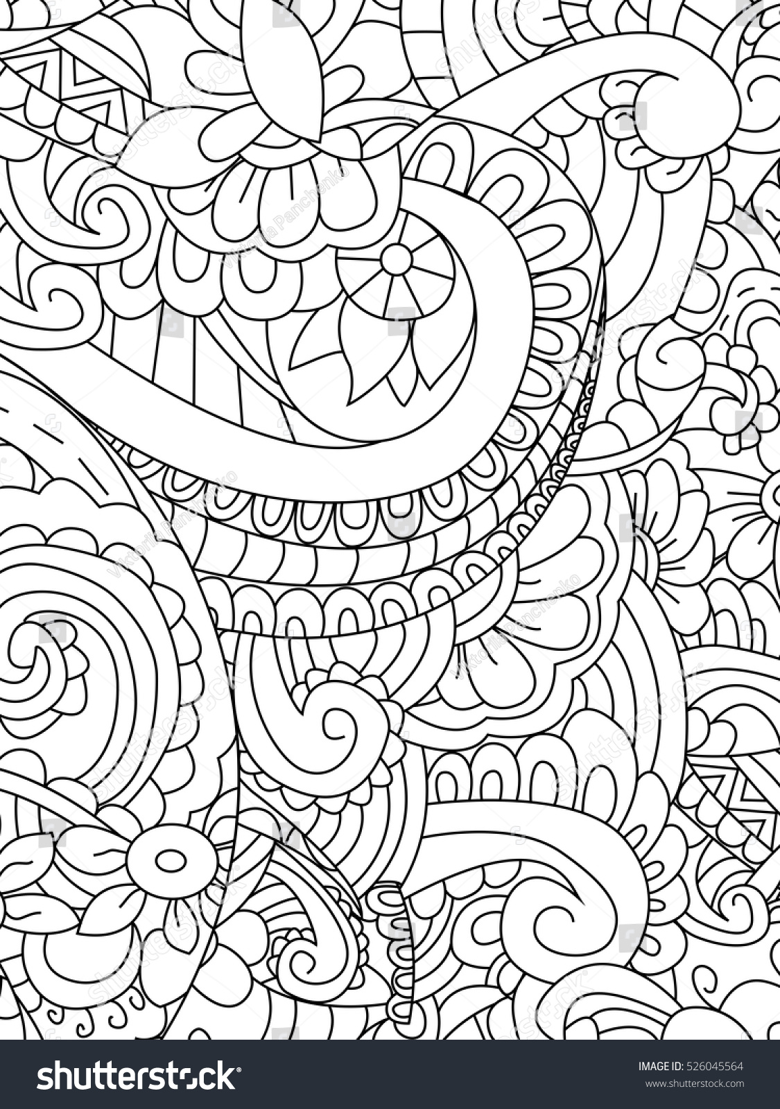 Stress coloring book for adults - Pattern Flower Coloring Book For Adults Vector Illustration Anti Stress Coloring For Adult