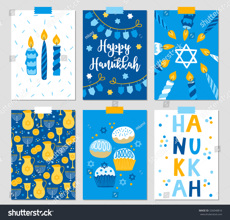 Set six hanukkah greeting cards candles stock vector 526048816 set of six hanukkah greeting cards with candles dreidel garland jewish star kristyandbryce Images