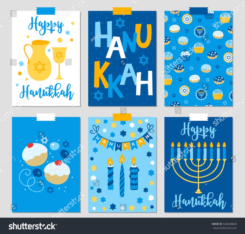 Set six hanukkah greeting cards menorah stock vector 526048828 set of six hanukkah greeting cards with menorah oil jewish star cupcakes kristyandbryce Images