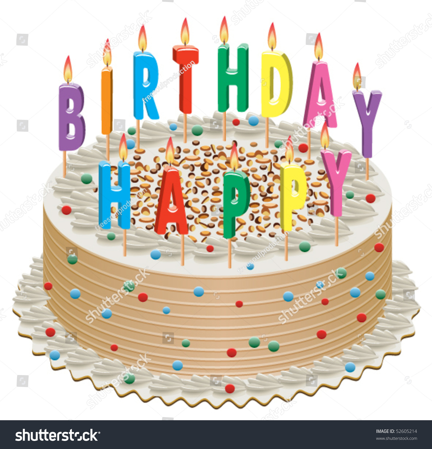 Vector Birthday Cake Burning Candles Stock Vector Royalty Free