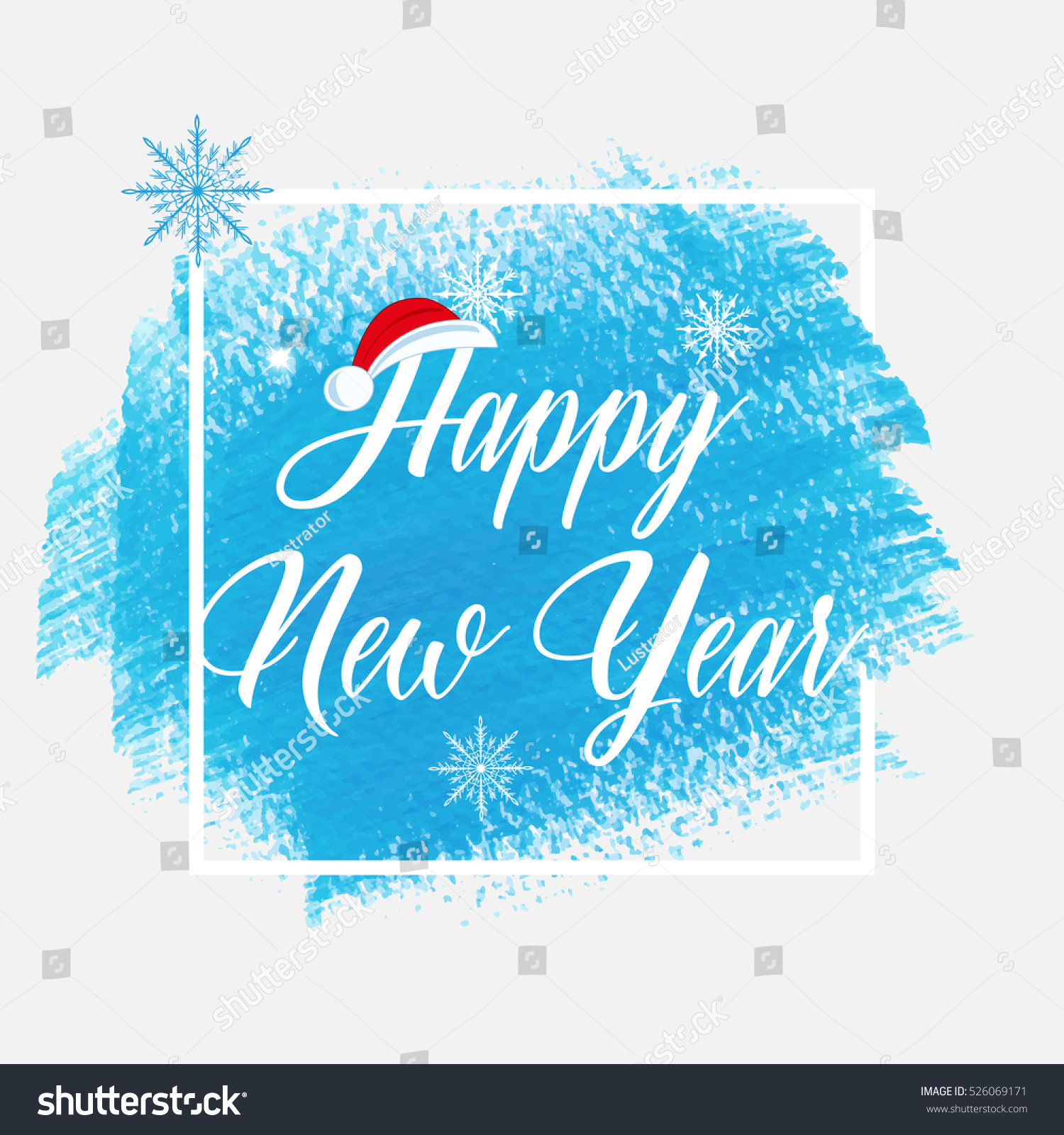 happy new year holiday sign text over abstract blue brush paint background vector illustration