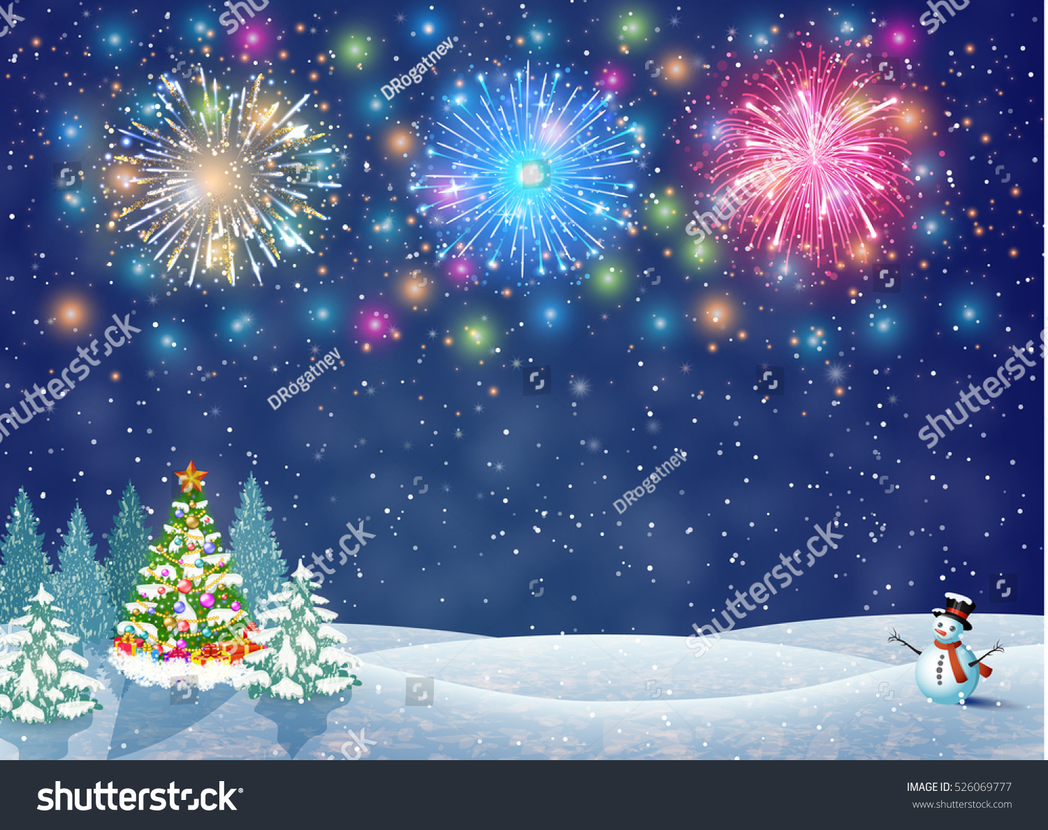 Christmas landscape night christmas tree snowman stock for Christmas landscape images