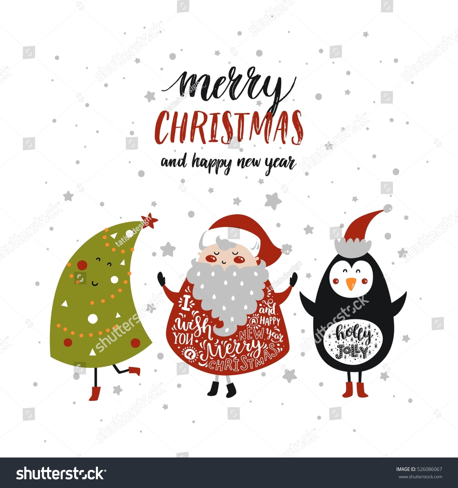Merry Christmas Card Cute Santa Claus Stock Vector Royalty Free