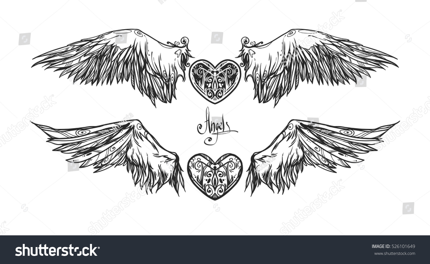 Beautiful Emblem With Wings Graphic Image Illustration Informal Attributes It Can Be Used For Printing On T-Shirts Or Ideas For Tattoos