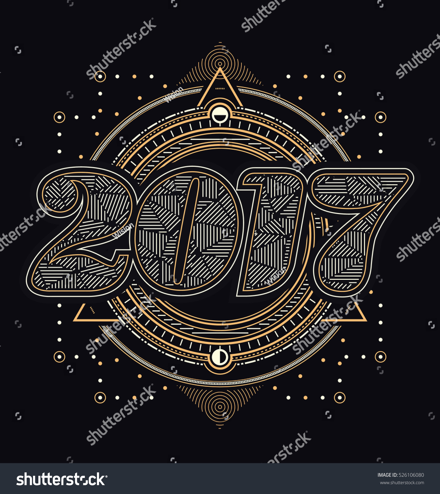 2017 calligraphic new year greeting design stock vector 526106080 2017 calligraphic new year greeting design sacred style gold and white lines design on kristyandbryce Choice Image