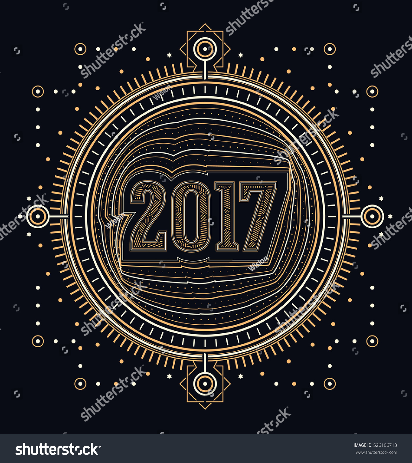 2017 calligraphic new year greeting design stock vector 526106713 2017 calligraphic new year greeting design sacred style gold and white lines design on kristyandbryce Choice Image