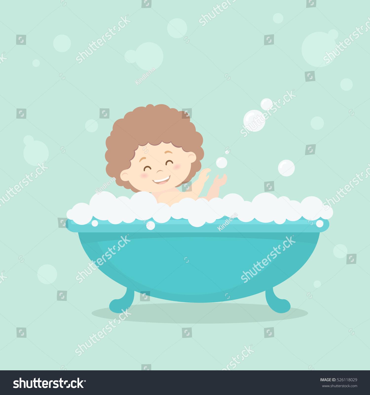 Happy Laughing Girl Baby Having Bath Stock Vector (Royalty Free ...