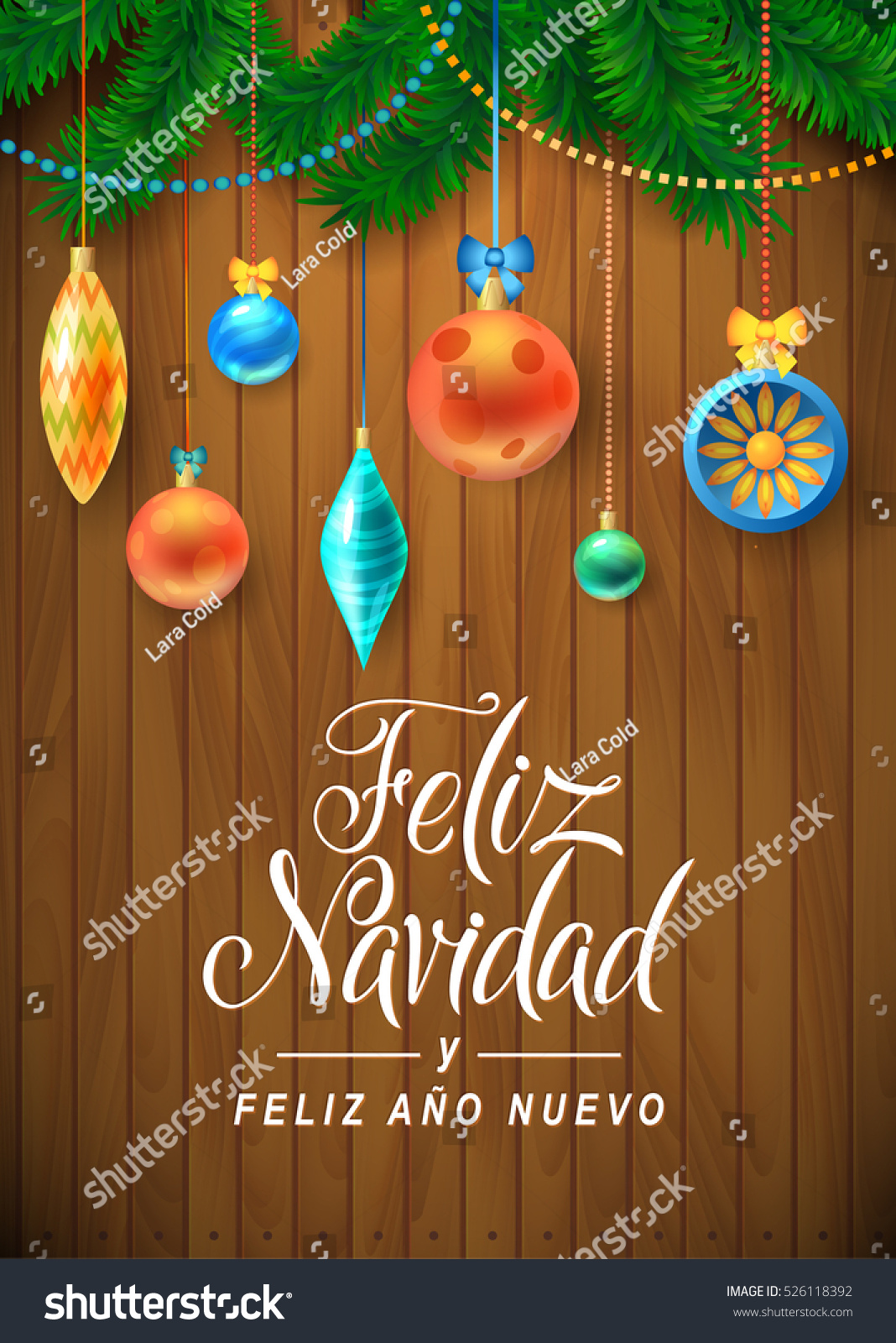 merry christmas and happy new year spanish language christmas fir tree with decoration on