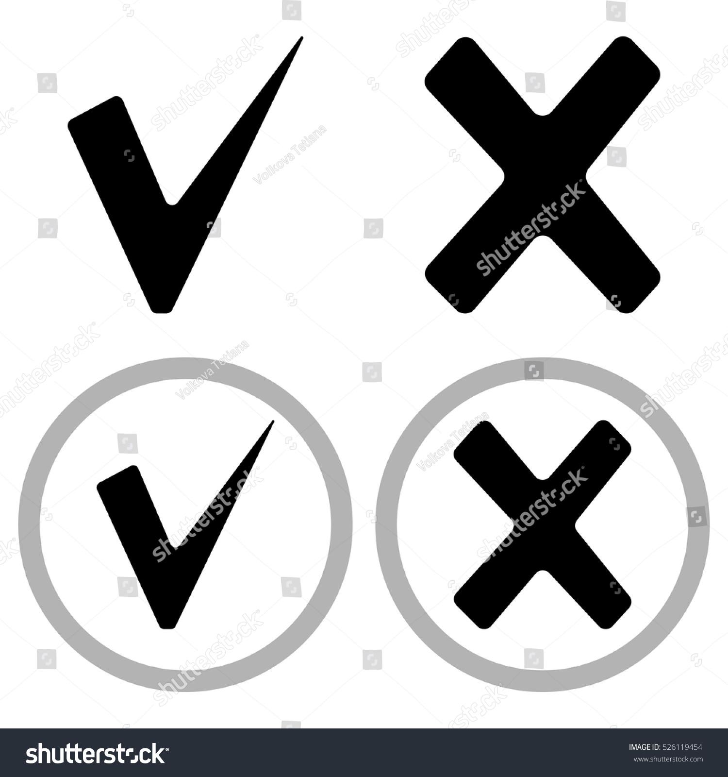 Tick Cross Icons Check Mark Vector Stock Vector Royalty Free