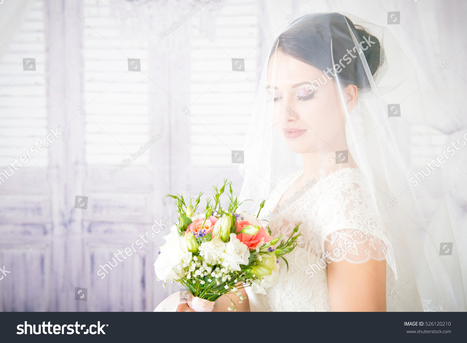 Beautiful Bride Wedding Hairstyle Closeup Portrait Stock Photo ...