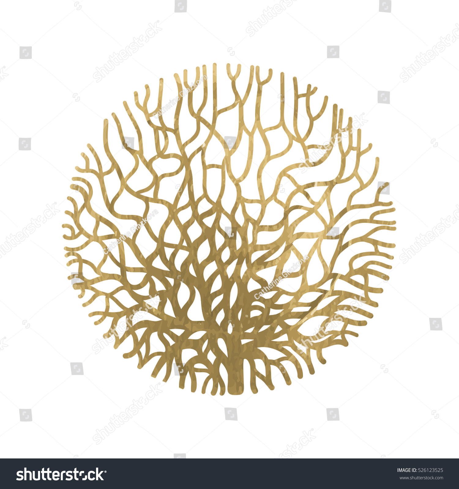 Graphic Coral Circle Painted Gold Acrylic Stock Vector Royalty Free 526123525