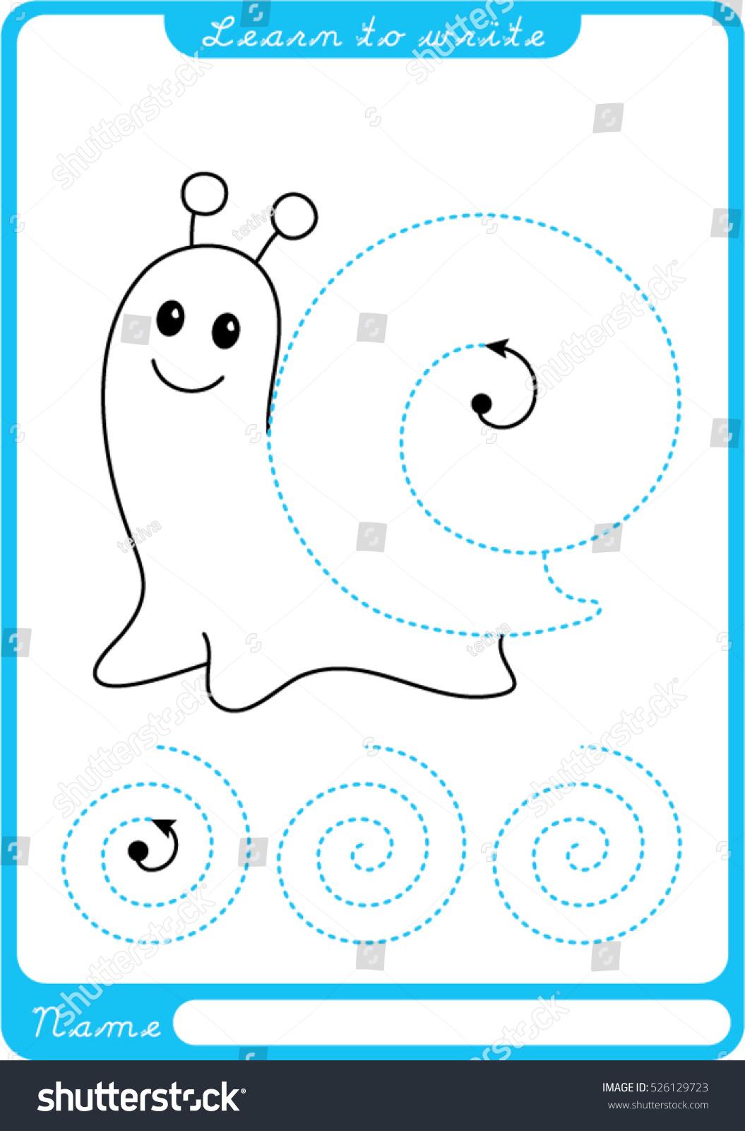 Snail Preschool Worksheet Practicing Fine Motor Stock Vector ...