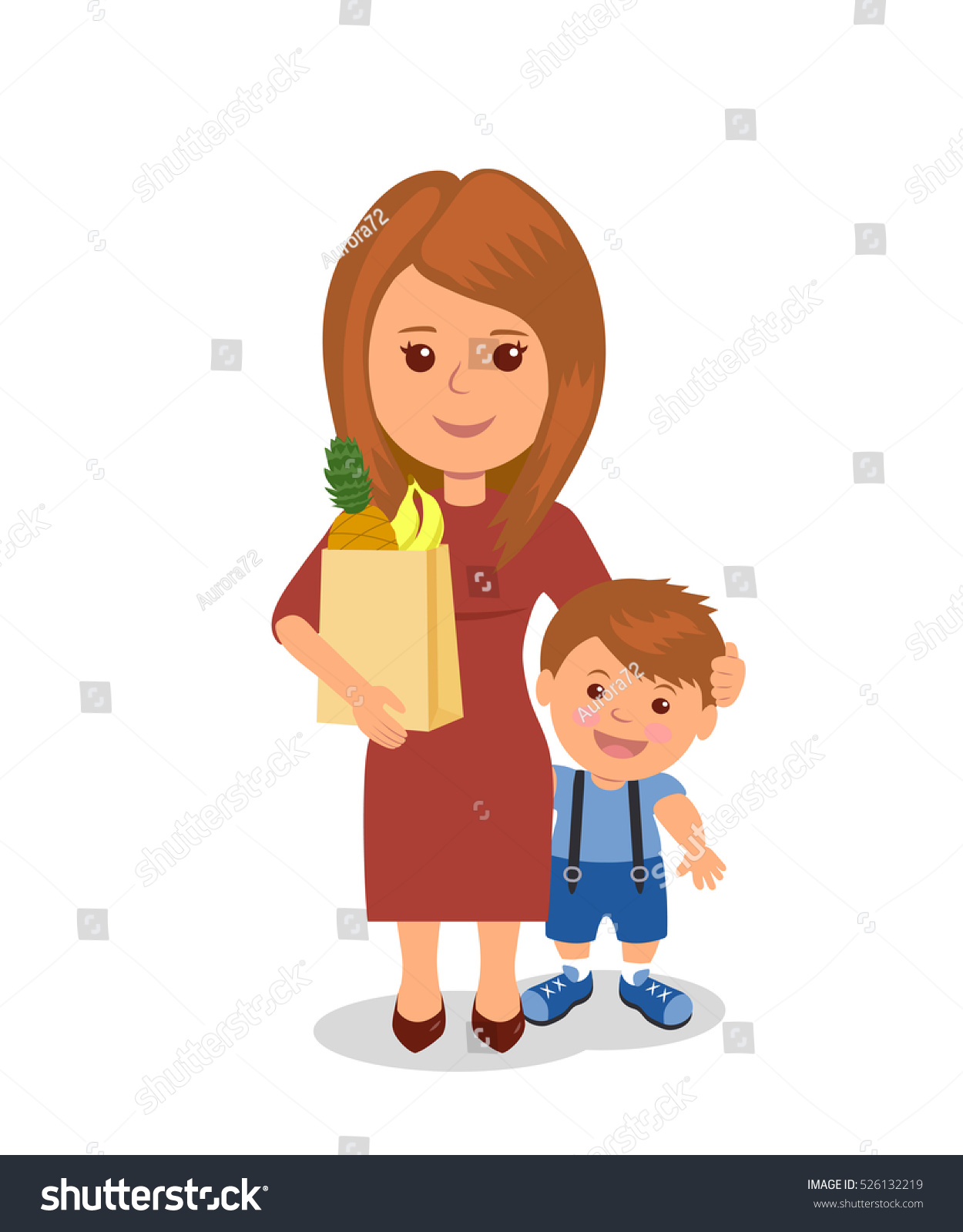 mother son bag groceries cartoon characters stock illustration