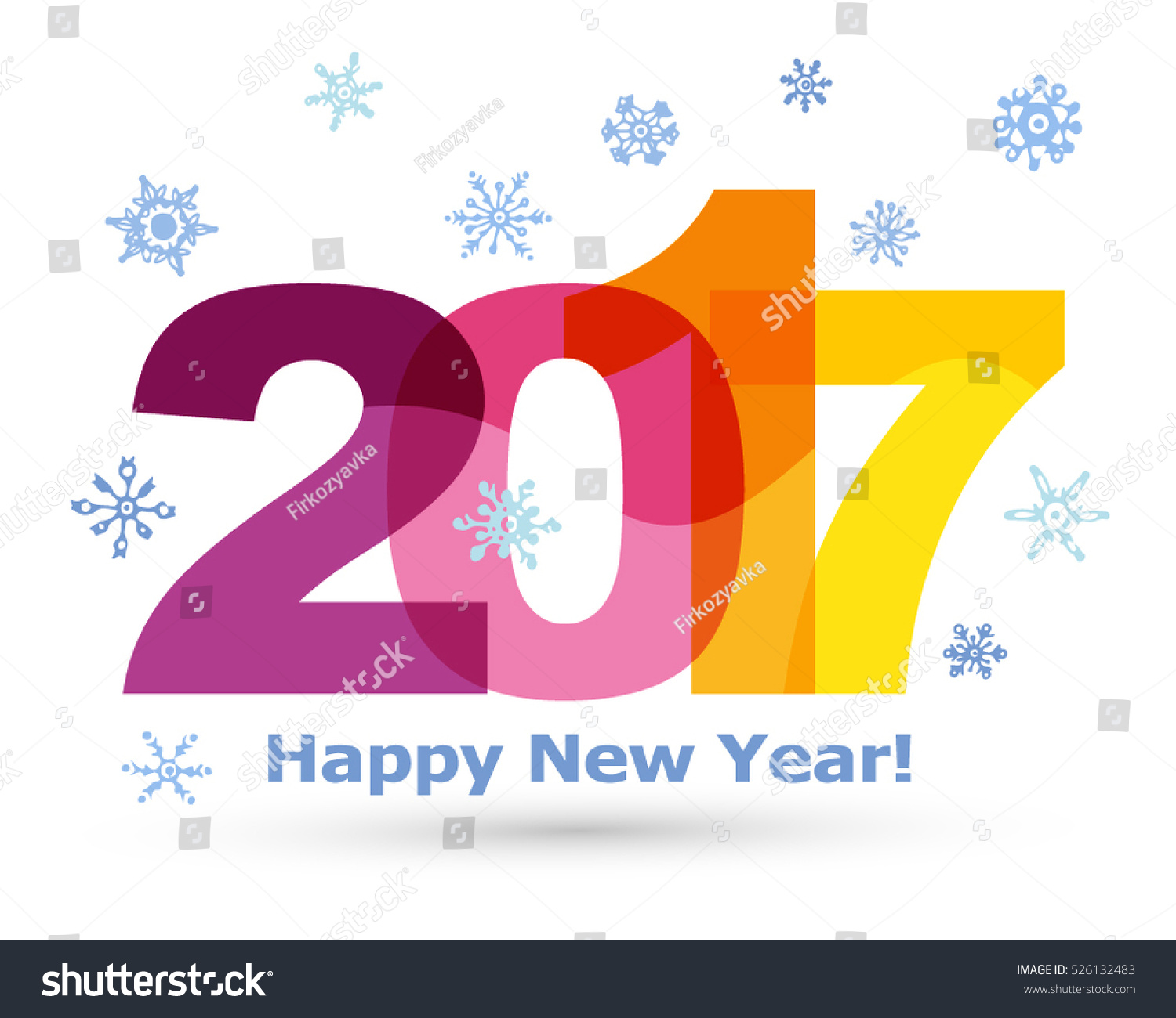 ... with ink. Vector illustration. Happy new year 2017 Text Design vector