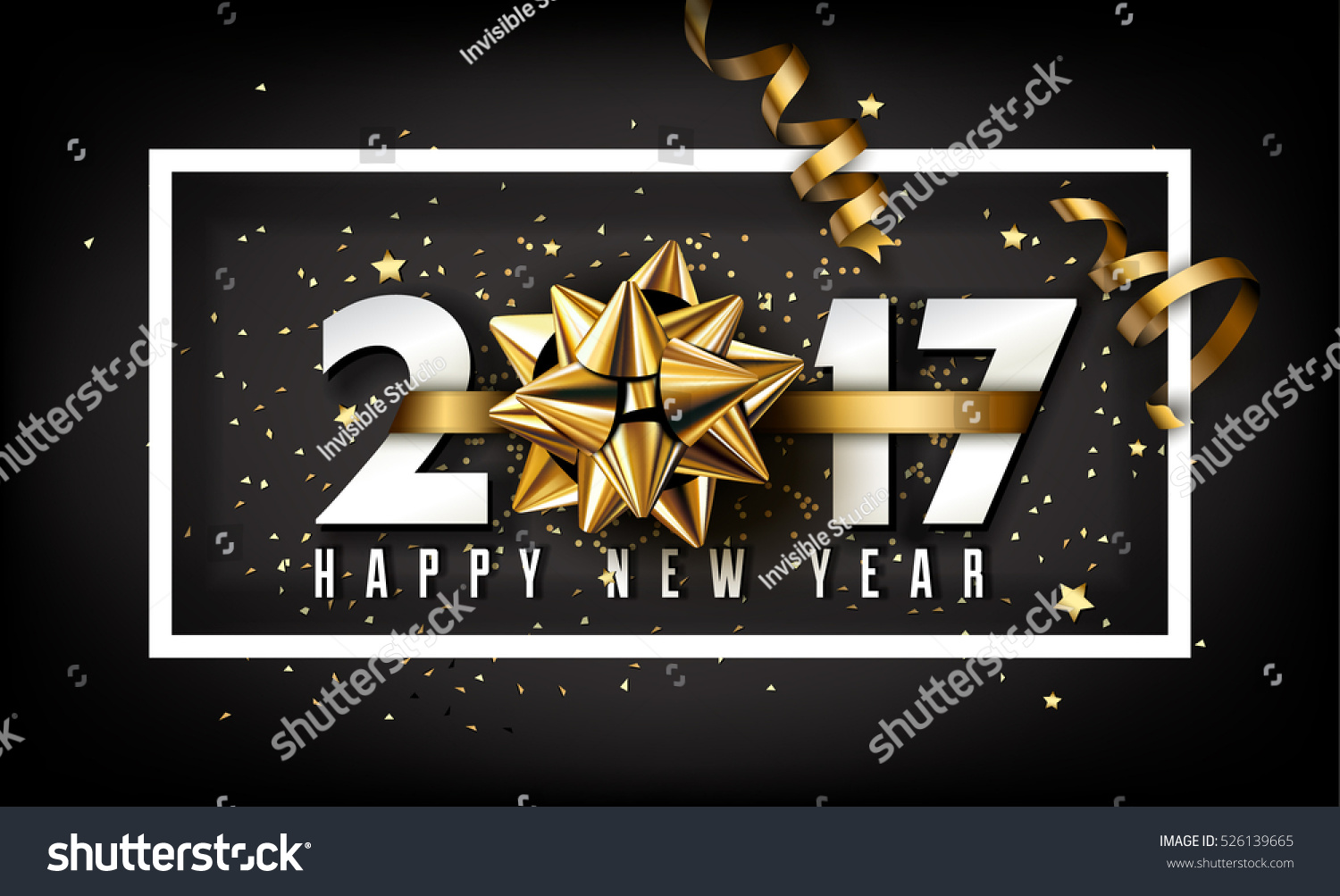 Vector 2017 Happy New Year background with golden gift bow