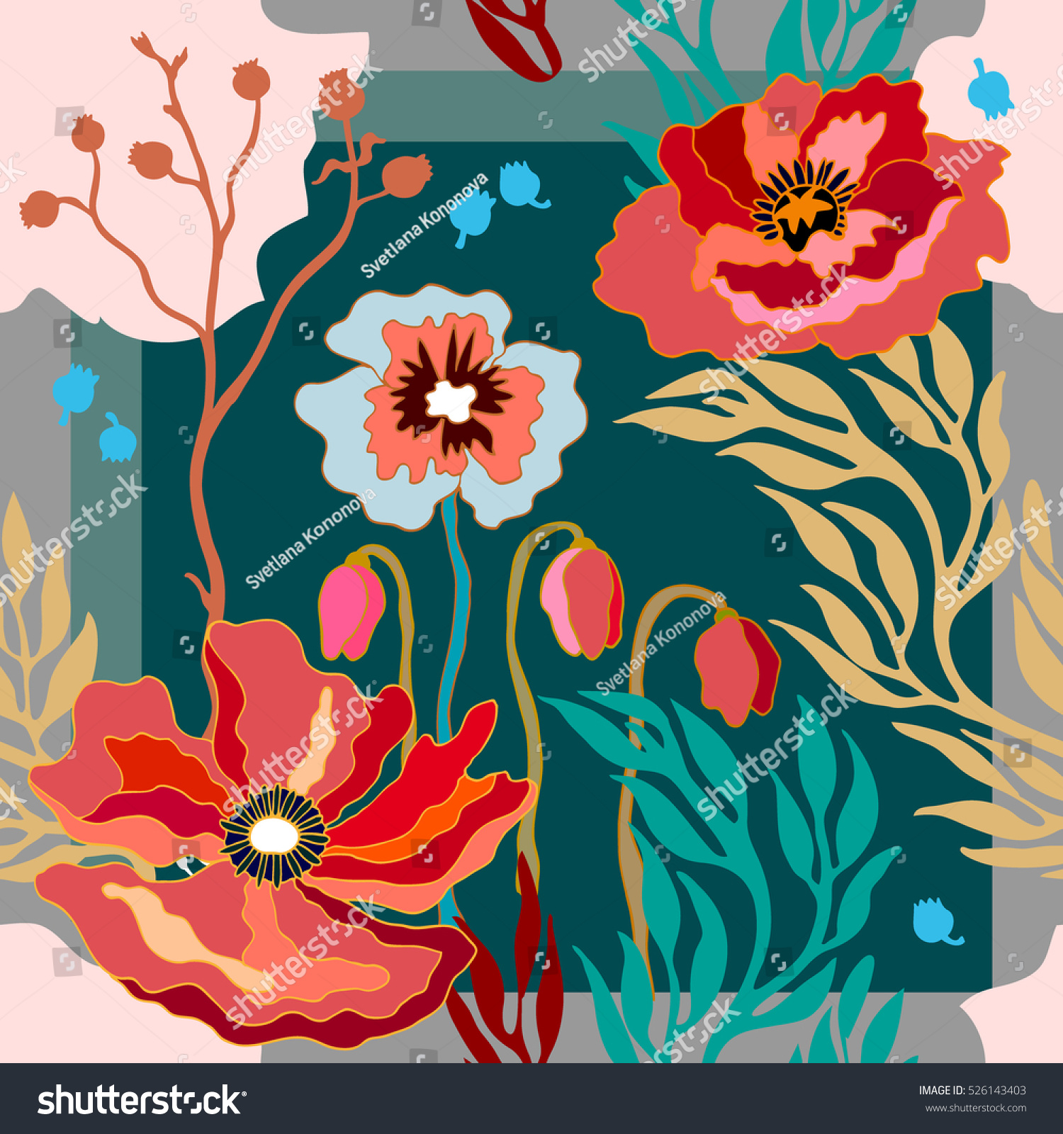 Silk scarf with blooming poppies. Abstract seamless vector pattern with  hand drawn floral elements. 1950s-1960s motifs. Retro textile design  collection. 7ce492c56c7
