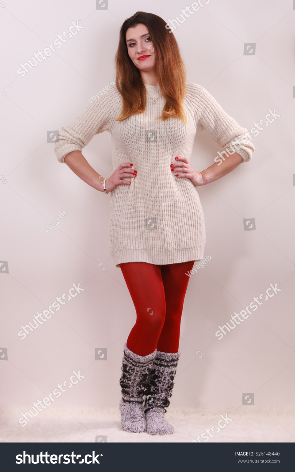 Winter Fashion Happy Young Woman Full Stock Photo